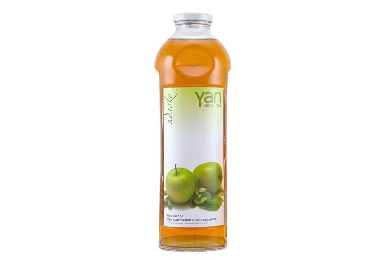Сок яблочный натуральный Yan (ЯН) в стеклянной таре купить с доставкой по Украине