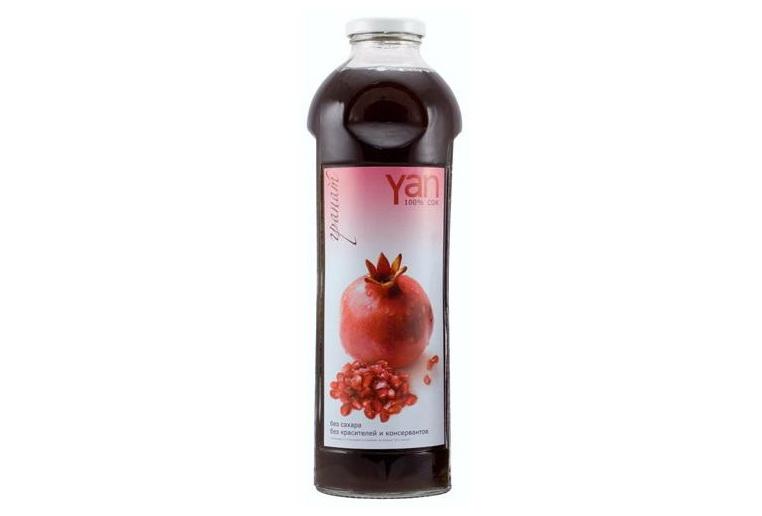 Купить сок гранатовый ян Yan Армения натуральный в стеклянной таре с доставкой по Украине. Интернет-магазин безалкогольных вин